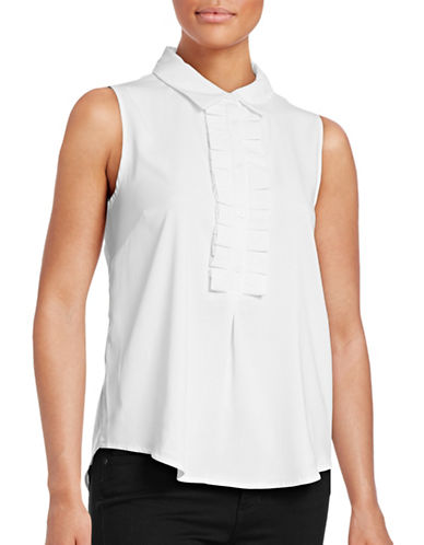 Tommy Hilfiger Sleeveless Ruffle Blouse-IVORY-Large