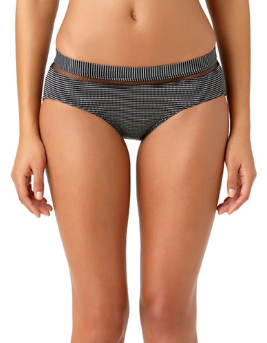 Anne Cole Pique Boo Boybrief Hipster Swim Bottoms-BLACK/WHITE-Medium