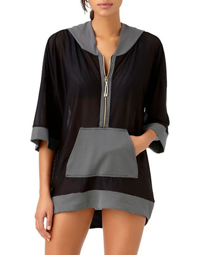 Anne Cole Oversized Mesh Hoodie-BLACK/WHITE-Small