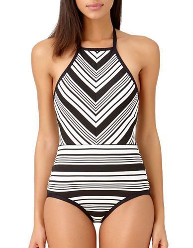 Anne Cole One-Piece Pique Striped Swimsuit-BLACK/WHITE-14