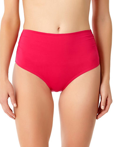 Anne Cole High-Waist Shirred Bikini Bottom-BERRY-Large