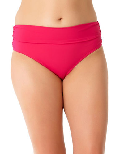 Anne Cole High-Waist Shirred Bikini Bottom-BERRY-16W