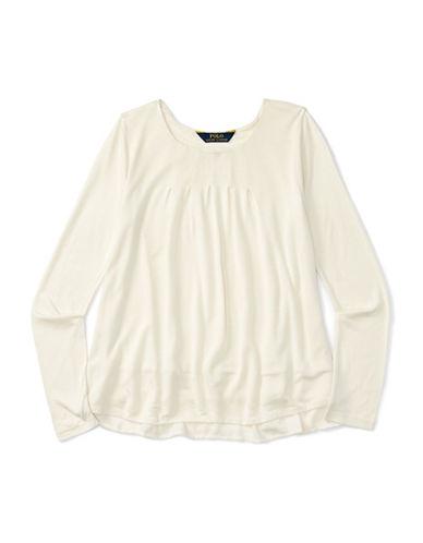 Ralph Lauren Childrenswear Knit Woven Top-WHITE-Medium 88659601_WHITE_Medium