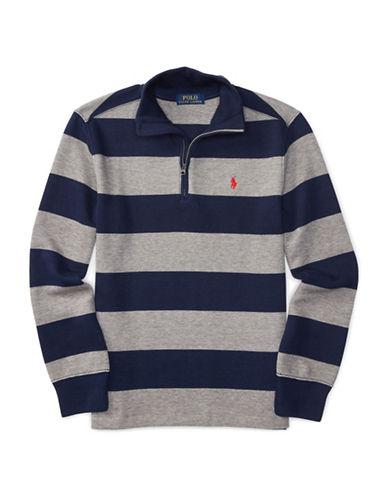Ralph Lauren Childrenswear Ribbed Half-Zip Sweatshirt-GREY-Large 88718242_GREY_Large
