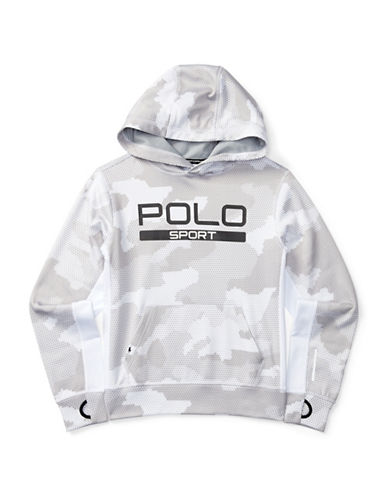 Polo Sport Tech Poly Fleece Knit Hoodie-WHITE-Medium 88792917_WHITE_Medium