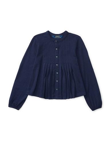 Ralph Lauren Childrenswear Cotton Pleated Top-BLUE-4