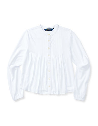 Ralph Lauren Childrenswear Cotton Pleated Top-WHITE-Medium 88659689_WHITE_Medium