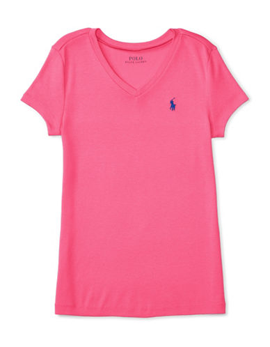 Ralph Lauren Childrenswear Pima Cotton V-Neck T-Shirt-PINK-Large 88659698_PINK_Large