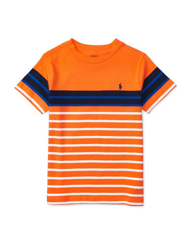Ralph Lauren Childrenswear Striped Short Sleeve Tee-ORANGE-2T 88839835_ORANGE_2T