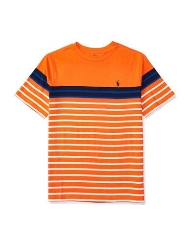 Ralph Lauren Childrenswear Striped Jersey Tee-ORANGE-Large 88840096_ORANGE_Large
