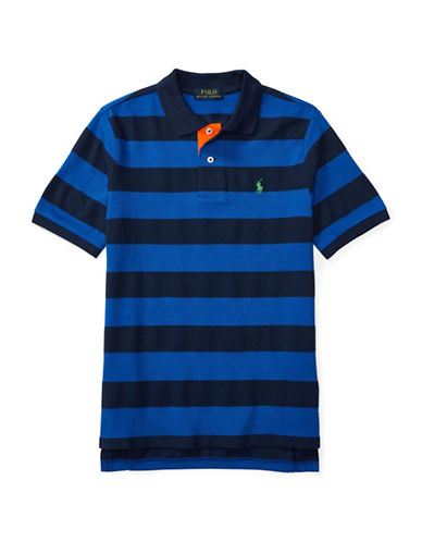 Ralph Lauren Childrenswear Mesh Striped Polo-BLUE-X-Large