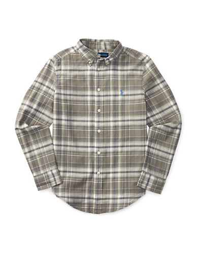 Ralph Lauren Childrenswear Cotton-Flax Madras Plaid Sports Shirt-GREY-Medium