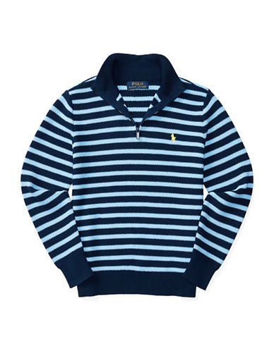 Ralph Lauren Childrenswear Mesh Cable Stitch Pullover-BLUE-Small 88933781_BLUE_Small