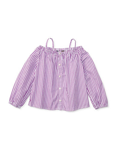 Ralph Lauren Childrenswear Bengal-Striped Cotton Shirt-PURPLE-3