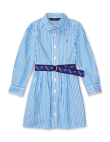 Ralph Lauren Childrenswear Bengal Striped Shirtdress-BLUE-4
