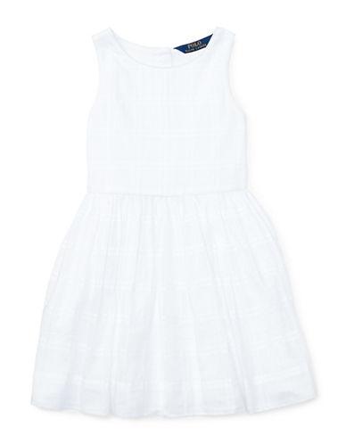 Ralph Lauren Childrenswear Windowpane Fit-and-Flare Dress-WHITE-4