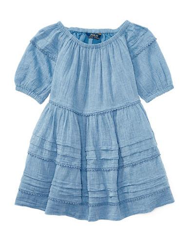 Ralph Lauren Childrenswear Chambray Gauze Dress-BLUE-3
