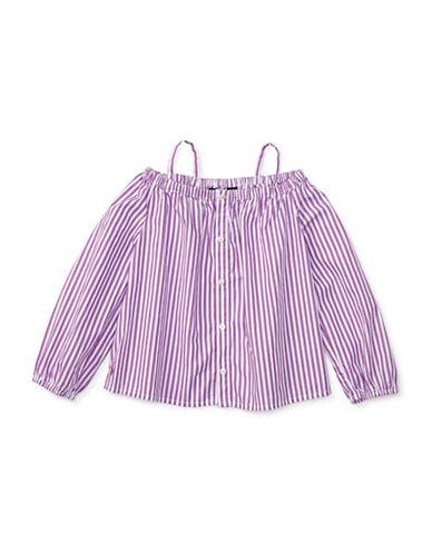 Ralph Lauren Childrenswear Bengal-Striped Cotton Shirt-PURPLE-6X