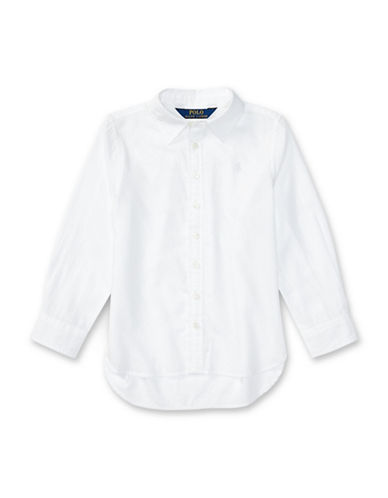 Ralph Lauren Childrenswear Cotton Twill Oxford Shirt-WHITE-5
