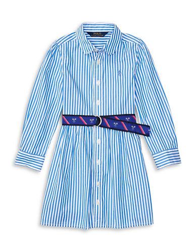 Ralph Lauren Childrenswear Bengal Striped Shirt Dress-BLUE-5