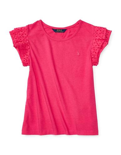 Ralph Lauren Childrenswear Eyelet Ruffle Tee-PINK-Small 88894771_PINK_Small