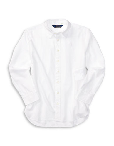 Ralph Lauren Childrenswear Featherweight Twill Button-Down Shirt-WHITE-7