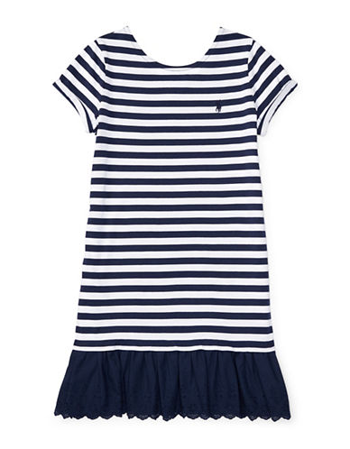 Ralph Lauren Childrenswear Striped T-Shirt Dress-BLUE-Medium
