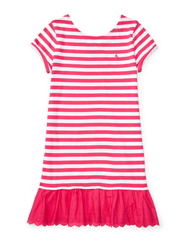 Ralph Lauren Childrenswear Striped T-Shirt Dress-PINK-X-Large