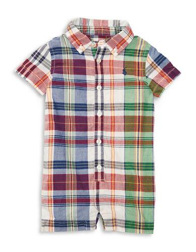 Ralph Lauren Childrenswear Plaid Patterned Cotton Shortall-WHITE-3 Months