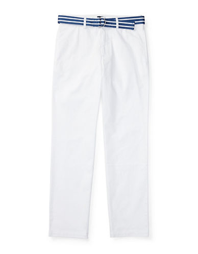Ralph Lauren Childrenswear Suffield Belted Stretch Chino Pants-WHITE-18