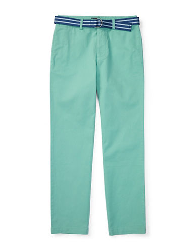 Ralph Lauren Childrenswear Suffield Belted Stretch Chino Pants-GREEN-16