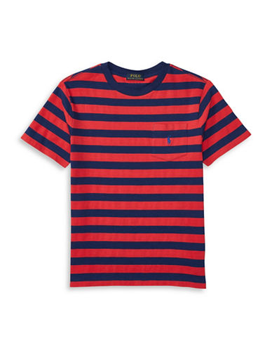 Ralph Lauren Childrenswear Striped Pocket T-Shirt-RED-Large 88933803_RED_Large