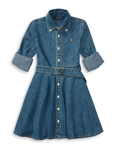 Ralph Lauren Childrenswear Cotton Denim Fit-and-Flare Shirtdress-NAVY-4