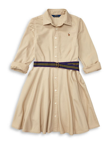 Ralph Lauren Childrenswear Lightweight Cotton Chino Shirtdress-BEIGE-12