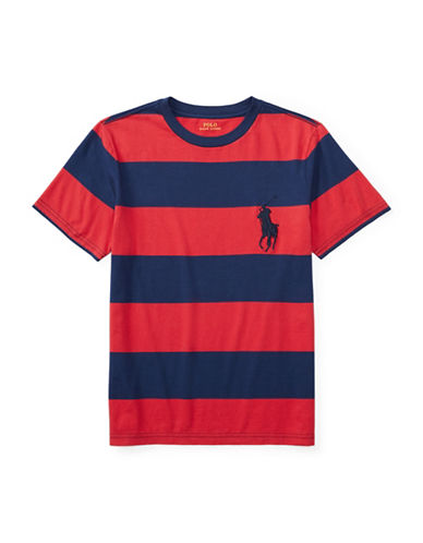 Ralph Lauren Childrenswear Striped Cotton Jersey T-Shirt-RED-Large 89107633_RED_Large
