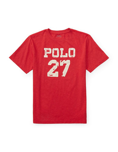 Ralph Lauren Childrenswear Slub Jersey  T-Shirt-RED-Large 89107645_RED_Large