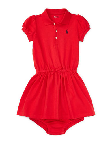Ralph Lauren Childrenswear Two-Piece Cotton Polo Dress and Bloomer Set-RED-9 Months