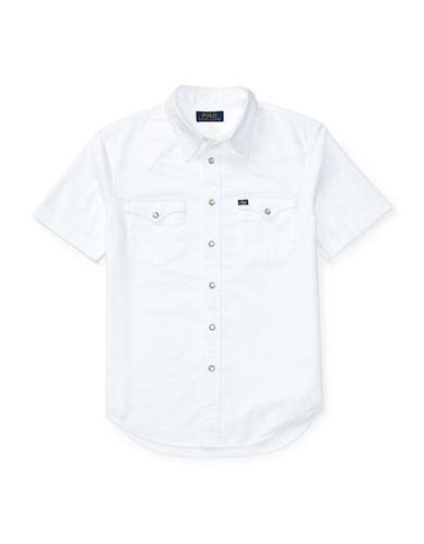 Ralph Lauren Childrenswear Cotton Oxford Western Shirt-WHITE-Large 89107561_WHITE_Large