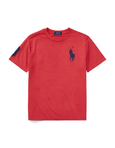 Ralph Lauren Childrenswear Cotton Jersey Crew Neck  T-Shirt-RED-Large 89107589_RED_Large