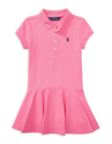 Ralph Lauren Childrenswear Short-Sleeve Polo Dress-BAJA PINK-6X