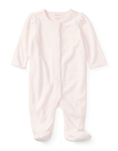 Ralph Lauren Childrenswear Striped Velour Coverall-PINK-Newborn