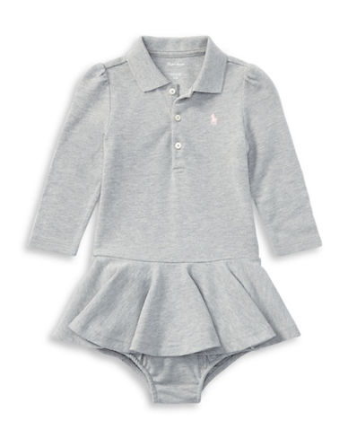 Ralph Lauren Childrenswear Babys Cotton Polo Dress & Bloomer Set-GREY-9 Months