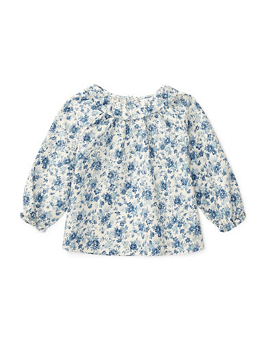 Ralph Lauren Childrenswear Floral Printed Cotton Top-BLUE-9 Months