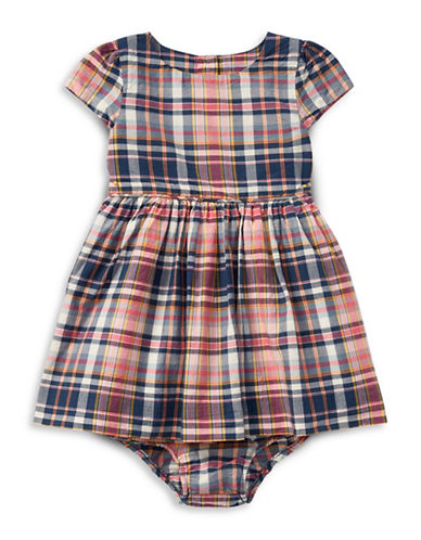 Ralph Lauren Childrenswear Two-Piece Dress and Bloomer Plaid Cotton Set-PINK-24 Months