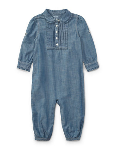 Ralph Lauren Childrenswear Cotton Chambray Romper-BLUE-12 Months