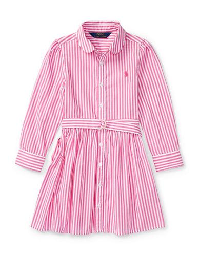 Ralph Lauren Childrenswear Striped Cotton Shirtdress-PINK-2