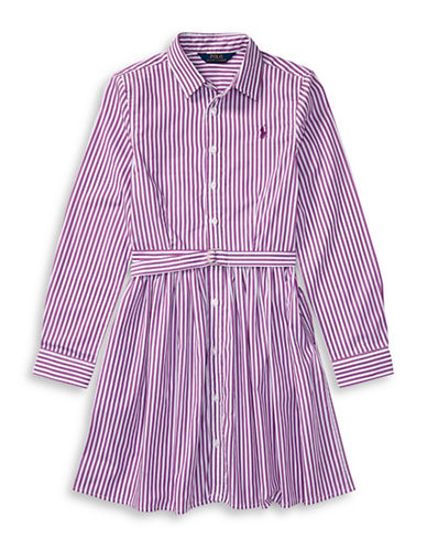 Ralph Lauren Childrenswear Striped Cotton Shirtdress-PURPLE-4