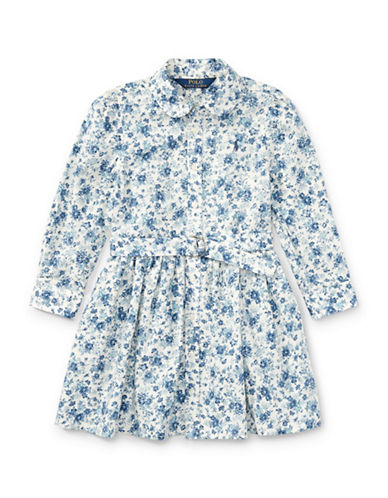 Ralph Lauren Childrenswear Floral Cotton Shirtdress-BLUE-2