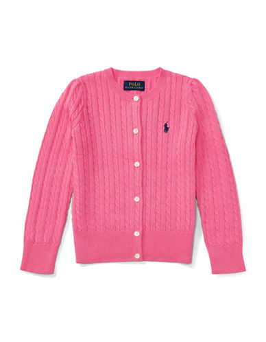 Ralph Lauren Childrenswear Mini-Cable Cotton Cardigan-PINK-5