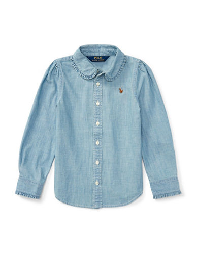Ralph Lauren Childrenswear Ruffled Cotton Collared Shirt-BLUE-5